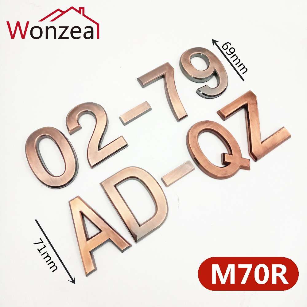 70mm 0123456789ABC-Z Modern Red Copper Plaque Number House Letter Hotel Door Address Digits Sticker Plate Sign ABS Plastic