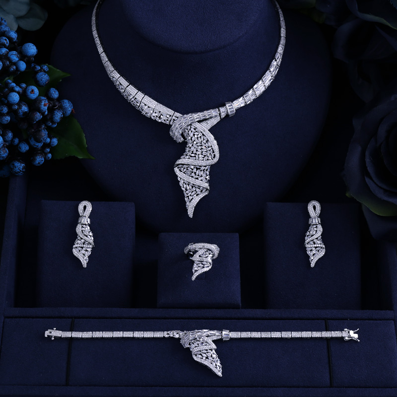 brand new white gold Princess Wedding Jewelry Set 4pcs set with AAA Cubic Zircon for Women High Quality Bridal Jewelry цена
