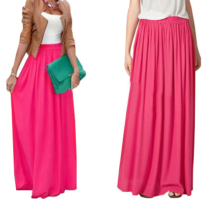 Chiffon Cool Skirt Women's Elastic Waist Ladies Long Solid Color Elegant Skirt Spring And Summer Autumn Pleated Falda SK71