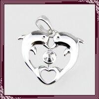 Groothandel Dolfijn Hartvorm Hanger Fittingen, 925 sterling zilveren parel hanger fitting 5 stks