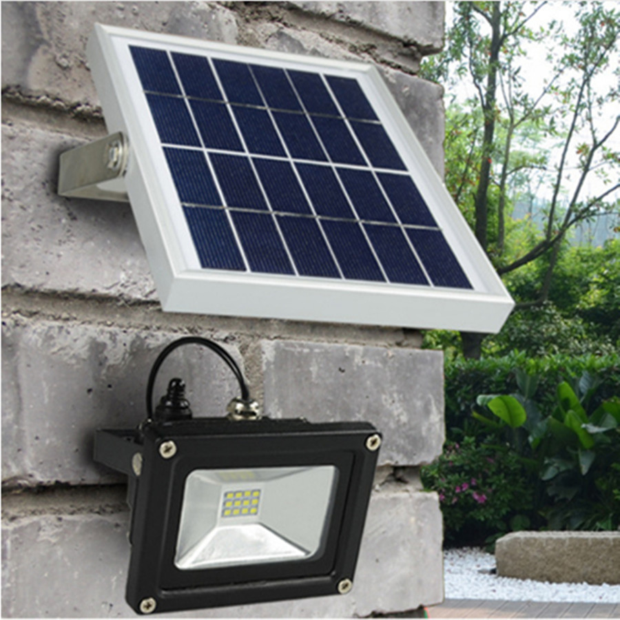[DBF]Solar Powered LED Flood Light 10W Outdoor Lamp Waterproof IP65 For Home  Garden