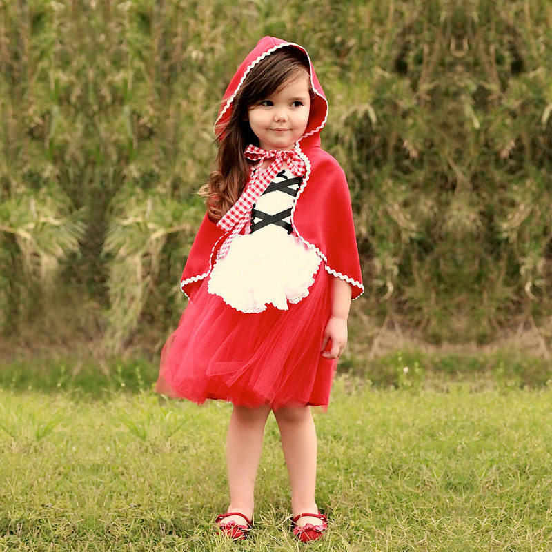 Kids Girl Princess Little Red Riding Hood Dress Snow White Birthday Baby Christmas Fantasia Carnival Dress Halloween Costume
