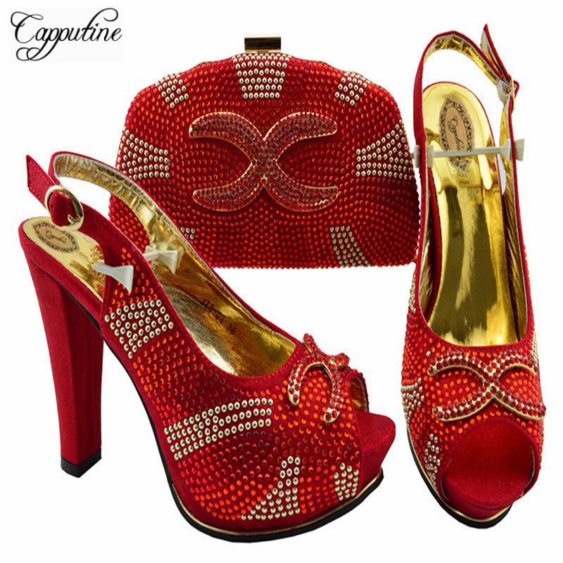 Capputine New Arrival Party Shoes And Bag Set High Quality Decorated With Rhinestone Italian Shoes And Bag Set For Party JZS-03 все цены