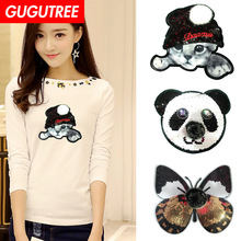 GUGUTREE embroidery Sequins big buttlefly cats owl panda patches animal badges applique for clothing XC-127