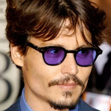 New Fashion Johnny Depp Sunglasses Men Style Round Tint Ocean Lens Brand Design Party Show Sun Glasses Women Blue Rivet