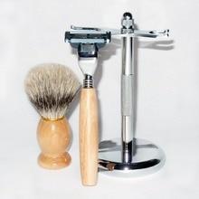 Shaving Set (Wooden Badger Shaving Brush, Safety Straight Razor, & Stainless Steel Stand)