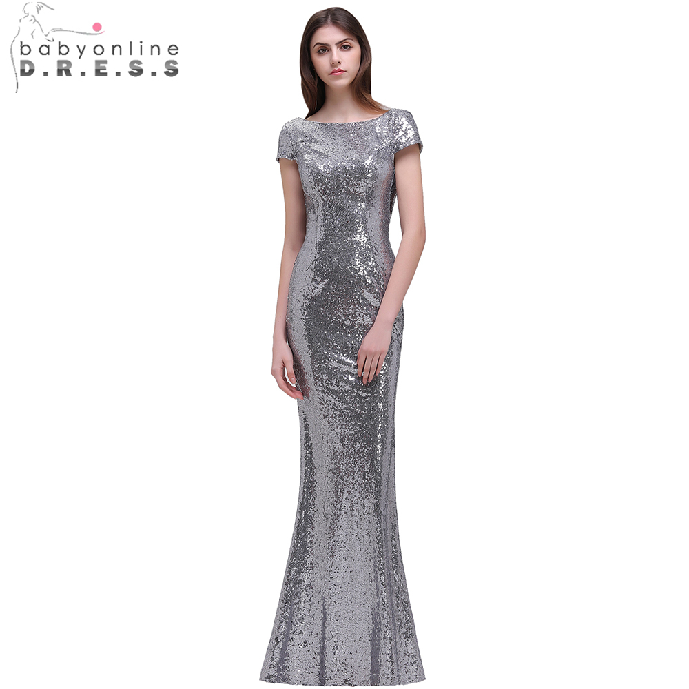 Babyonline Shinny Rose Gold Champagne Sequin Mermaid   Bridesmaid     Dresses   2019 Cap Sleeves Plunging Wedding Party   Dresses