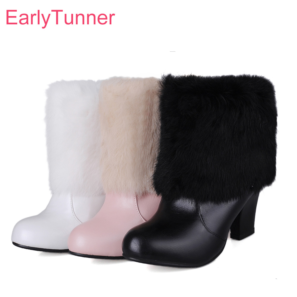 Brand New Hot Sales Winter Black White Women Nude Snow Boots Comfortable Lady Furry Shoes High Heels EBH6 Plus Big Size 10 33 44