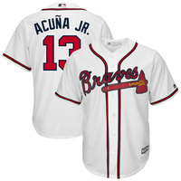 MLB Men S Atlanta Braves Ronald Acuna Jr Jersey Majestic White Blue Red Gray Flex Cool