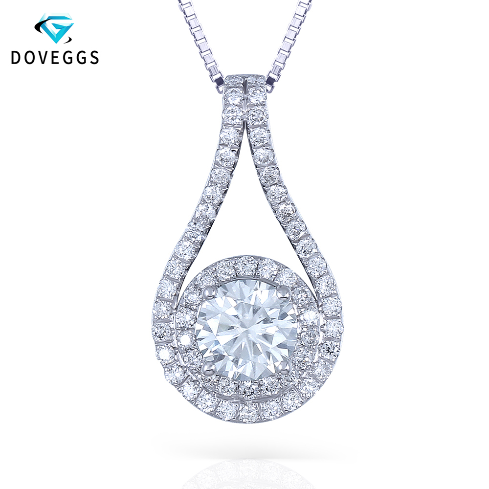 DovEggs 14K 585 White Gold Center 1ct 6.5mm F Color Moissanite Double Halo Pendant for Women Gift with Moissanite AccentsDovEggs 14K 585 White Gold Center 1ct 6.5mm F Color Moissanite Double Halo Pendant for Women Gift with Moissanite Accents