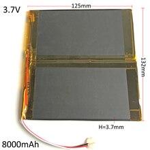 Recarregável de Polímero Poder para Pad 3.7 V 8000 Mah Li-po Bateria de Lítio Combinar 37132125 Dvd Banco Potência Tablet PC 3.7*132*125mm