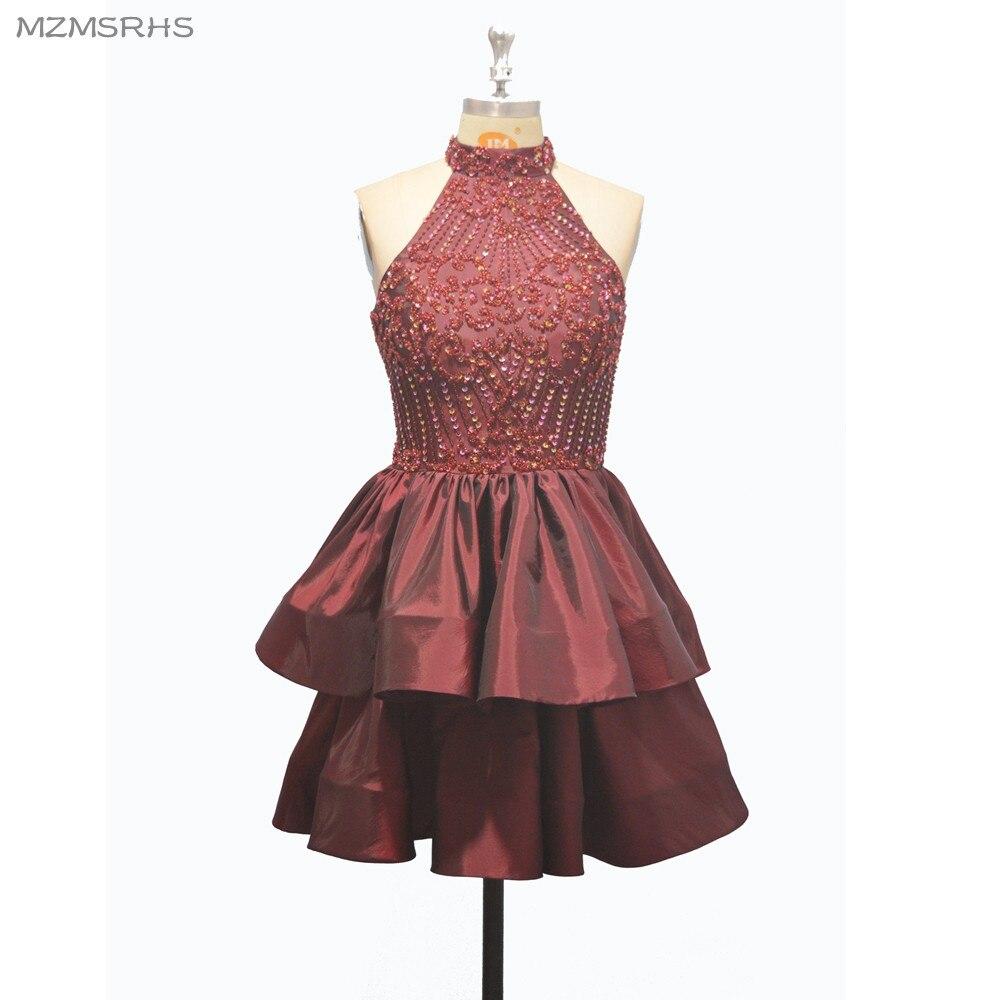 Ajax 2017 платье Vestido De formatura Зеленый тафта Homecoming платья с кристаллами Бисероплетение Короткие линии официально Вечеринка платья