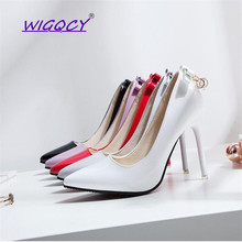 Butterfly-knot Pointed Toe Thin Heels 10cm High Heel pumps women shoes 2019 spring autumn shoes Wild Nightclub Sexy Party shoes
