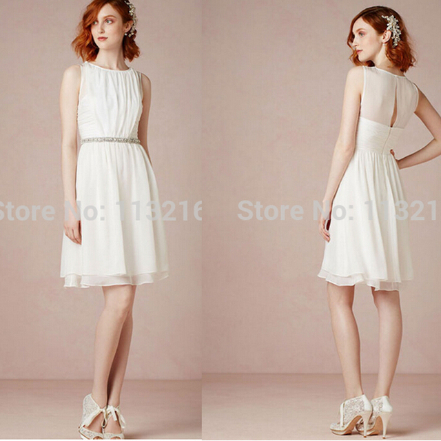 Simple Short Chiffon Ivory A Line Above The Knee Mini Beach Wedding Dresses Cheap