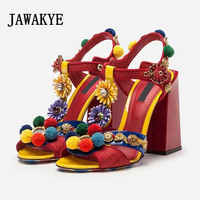 2019 Tribal Fashion Pom pom Embellished Red Sandals Block Heel Open Toe T strap Flower Shoes Beach Sandals