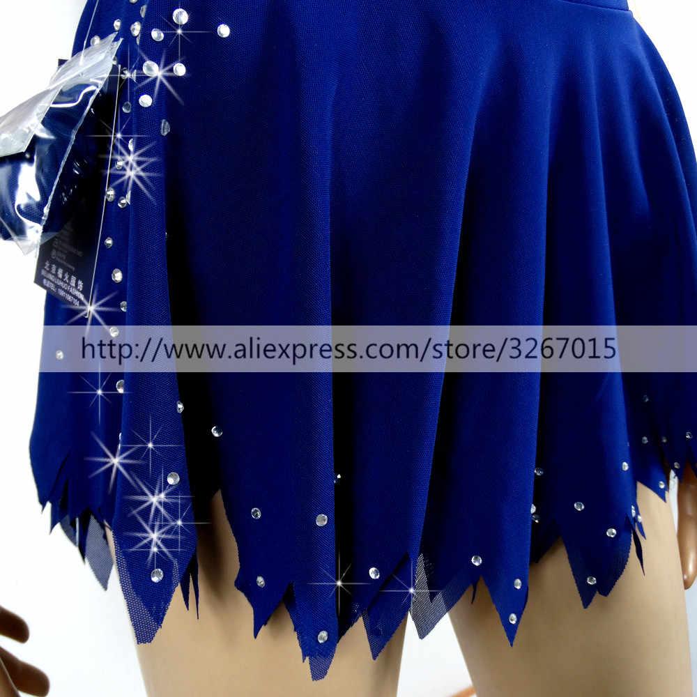 Платье для фигурного катания платье для девочек на заказ платье для фигурного катания без рукавов костюм для гимнастики блестящие стразы темно-синий белый