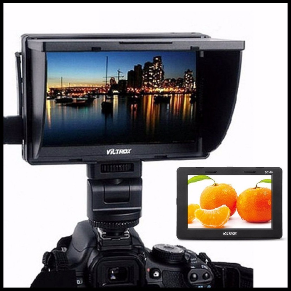 Viltrox DC-70 II Clip-on Color 7'' TFT LCD HD Monitor HDMI AV Input 1024 * 600 for Canon 70D 60D 6D 100D  For Nikon D810 D7100