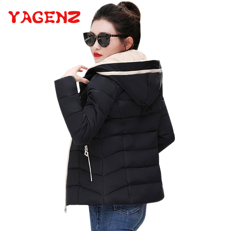 YAGENZ Winter Clothes Cotton Coat Women Hooded Coat   Parka   Outerwear Short Down Jacket Warm Slim Student Cotton-padded Jacket 173