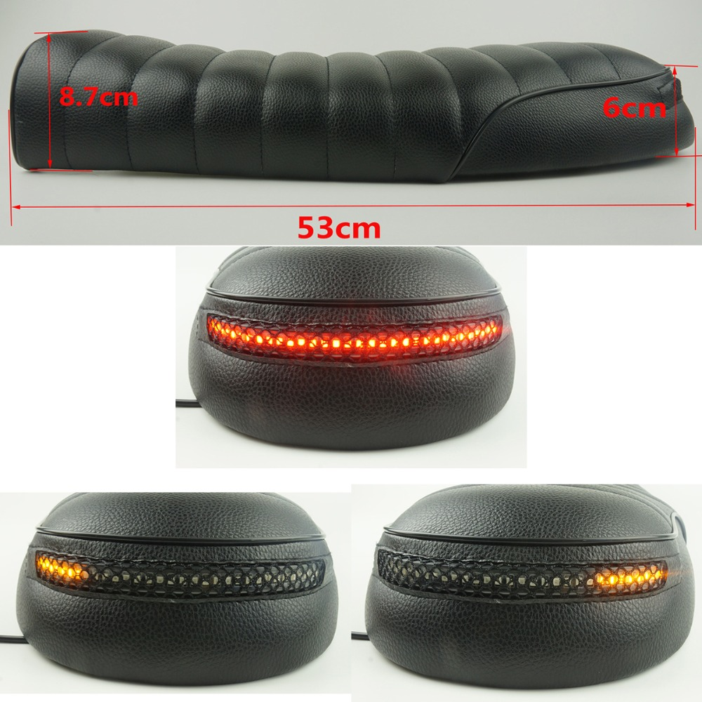 Vintage Cafe Racer Seat Flat Brat Cushion Saddle Motorcycle Retro Scrambler With LED Brake Turn Singal Light Taillight