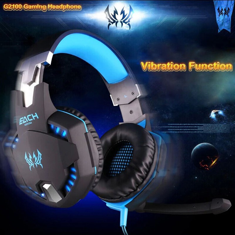 EACH G2100 Vibration Function Stereo Bass Pro Computer Earphones Gaming Headphones Game Headset with Mic LED Light for PC Gamer original xiberia v2 led gaming headphones with microphone mic usb vibration deep bass stereo pc gamer headset gaming headset