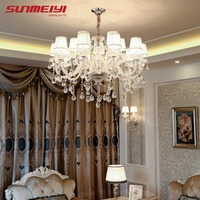 Modern Clear Crystal LED Chandelier Lighting Dining Room Hotel lustres de cristal large Chandelier with White Lampshade