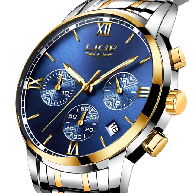LIGE Watches Men Luxury Brand Fashion Business Quartz Man watch Six Pin Sport Waterproof Clock watch men Full Steel Wristwatches