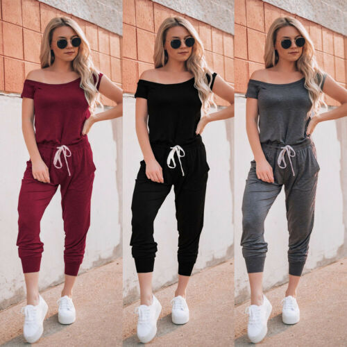 Hot Selling Women Clubwear Jumpsuit Short Sleeve Off Shoulder Female High Waist Sexy Jumpsuit Cotton Long Trousers