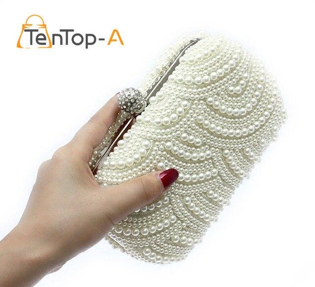 TenTop-Uma Frente E Verso Frisada Moda Requintado Frisado Evening Bag Pérola Elegante Nobre Sacos de Ombro Embreagens Sacos de Festa Branco pérola