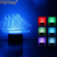 3D Boat Night Light Creative Sailboat Lamp 7 Colors Amazing Optical Illusion Scenery Series Optical Illusion
