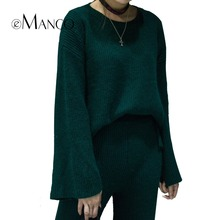 e-Manco Winter Warm Sweater & Pants Sets for Women Solid Green Thick Plus Flexible Long Sleeves Popular Home Clothing