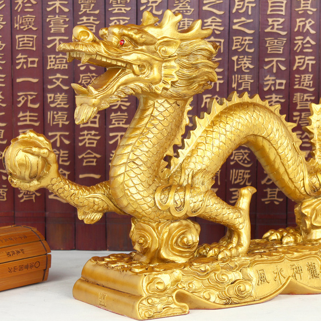 Family feng shui ornaments Imitation copper lucky town house home crafts decorations gold dragon ornaments 2