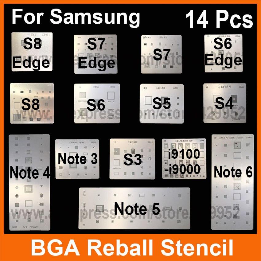 14pcs/lot IC Chip BGA Reballing Stencil Kits Set Solder template for Samsung S8 S8 edge S4 S5 S6 S7 Edge Note 3 4 5 I9100 I9000 все цены
