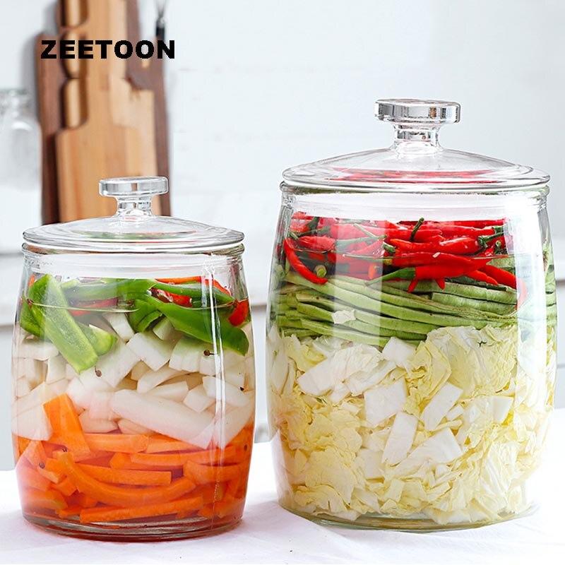 Clair épaissir verre Kimchi Jar maison joint cornichons pots avec couvercle Kit fruits secs noix stockage boîtes bonbons réservoirs accessoires de cuisine