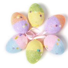 Hot Selling 6PCs/Lot New Foam Holiday Eggs Handmade Hanging Easter kindergarden Decor Child Gift 2 Size