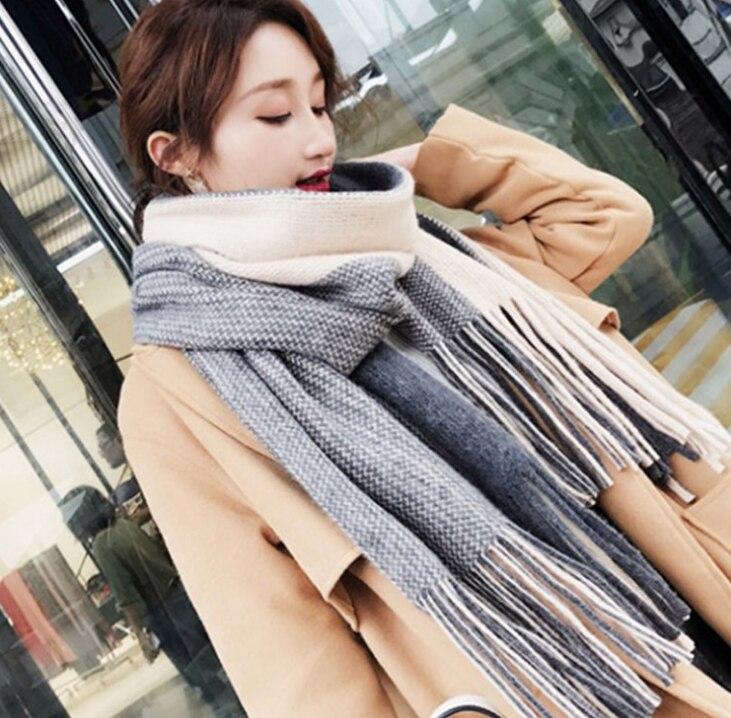 Colored stripes tassel Winter   scarf     wraps   Imitation Cashmere pashmina women scarfs thick Dual shawl hijab poncho for ladies