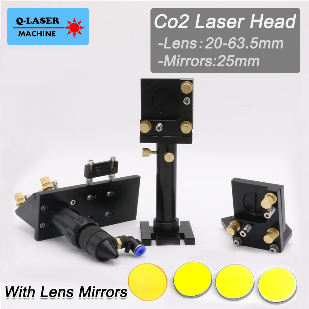 CO2 Laser Cutting Head Set  Silicon Reflect Mirror 25mm USA Focus Lens 20mm-63.5mm for Laser Engraving Cutting Machine co2 laser head mirror and lens integrative mount laser cutting engraving