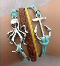 1pcs braid leather bracelet, antique silver anchor and squid charm bracelet, wax cords bracelet, 585 min order 10$(China)