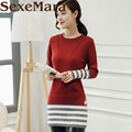 Cashmere Sweater Women Winter Pullover Solid Knitted Sweater Patchwork stripes slim warm Autumn Female plus size Sweater girls