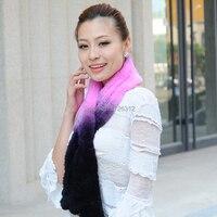 women's rex rabbit hair scarf female winter scarf muffler fur scarf gradient female