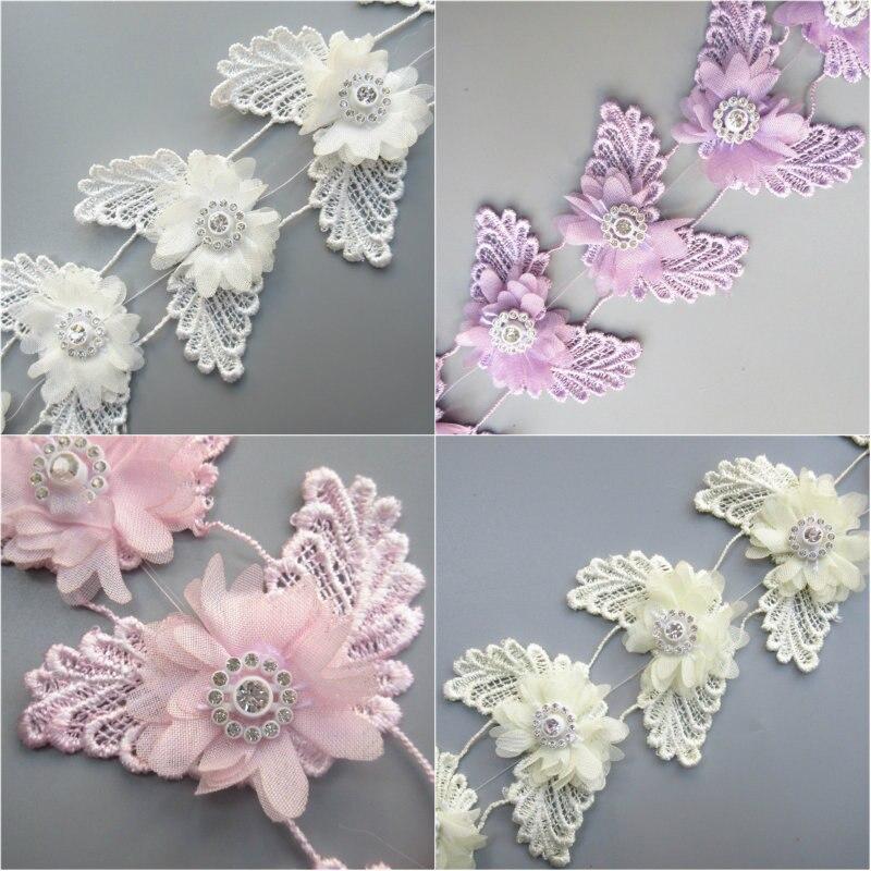 25mm Prettyia 10m Sheer Flower Butterfly Printed Chiffon Ribbon Trim for DIY Craft Decor