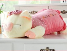 middle cartoon cute plush pig toys lovely pig pillow toy pink spot stuffed doll birthday  gift about 65cm