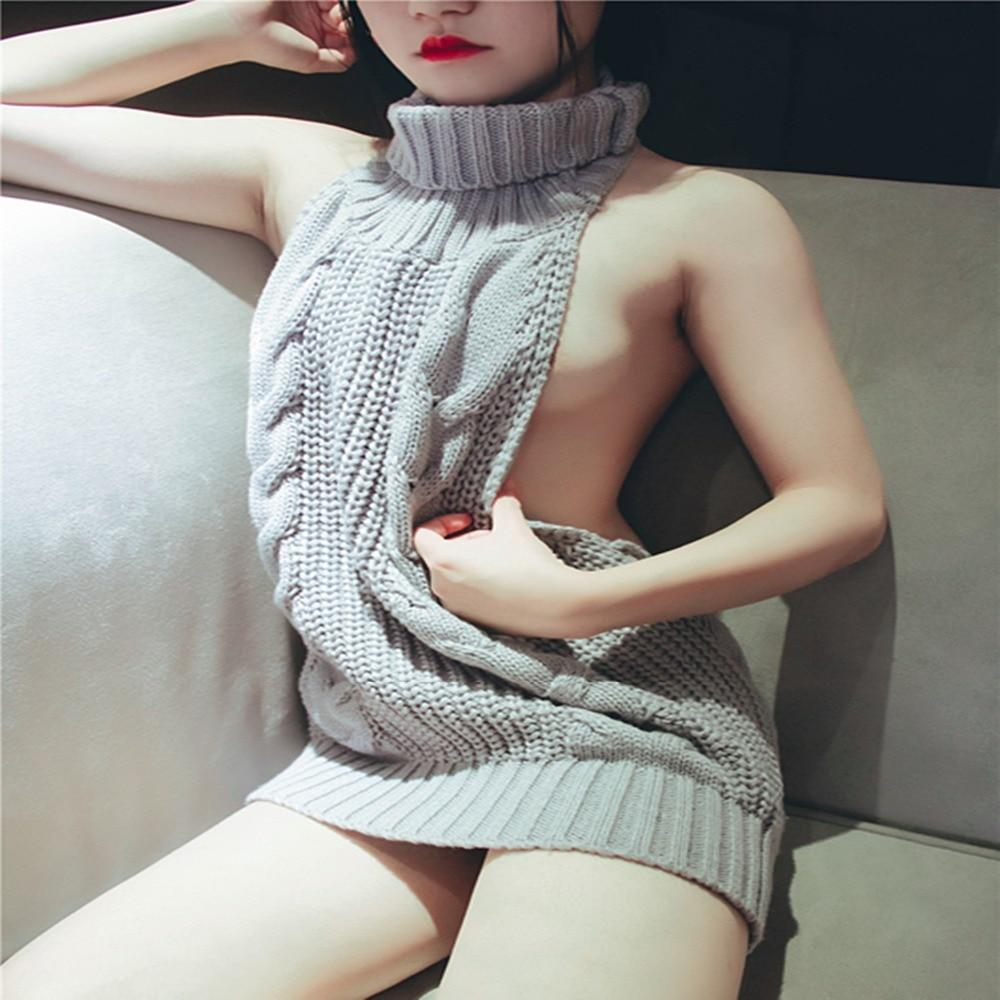 Kenmont Women Porn Erotic Open Crotch Nightdress Babydoll Halter Mini Dress Pole Dance Sexy Lingeries Sweater