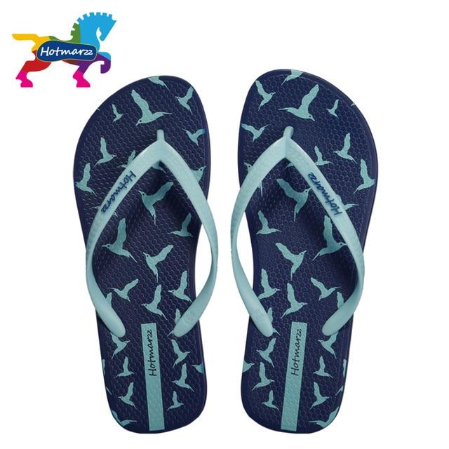 Hotmarzz Women Slippers Summer Flip Flops 2017 Beach Flat Sandals Animals Seagulls Print Fashion House Shoes Bedroom Ladies