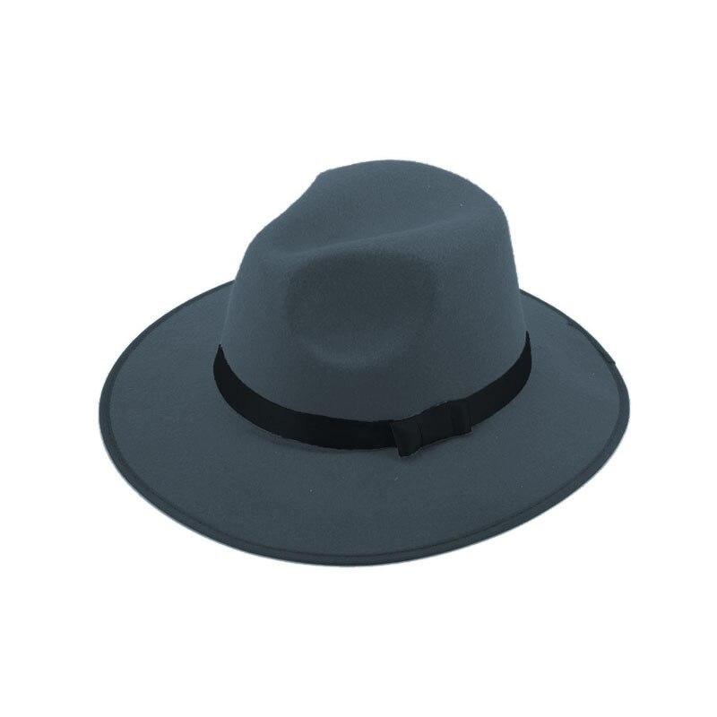 Модные Винтаж Для женщин шляпа с широкими полями ленты теплая шерсть Смеси фетровая шляпа котелок Fedora Кепки - Цвет: Grey