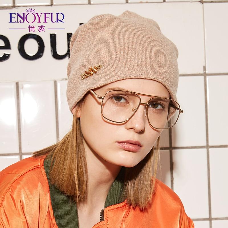 af3bf6f5c54 ENJOYFUR Rhinestones Wool Knitted Winter Hats For Women Autumn Cashmere  Female Hat Girl Warm Gravity Falls Cap 2018 Lady Beanies