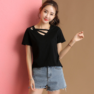 Summer T Shirt Women 2019  Casual Print Letter Solid Color Women Tshirt