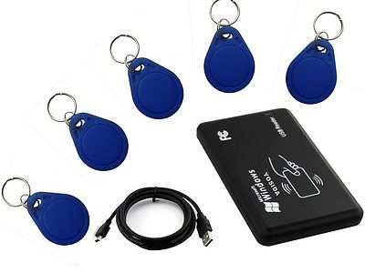 125KHz EM4100 card Reader&Writer/Programmer,copy ID access control+5pcs T5577fob ...