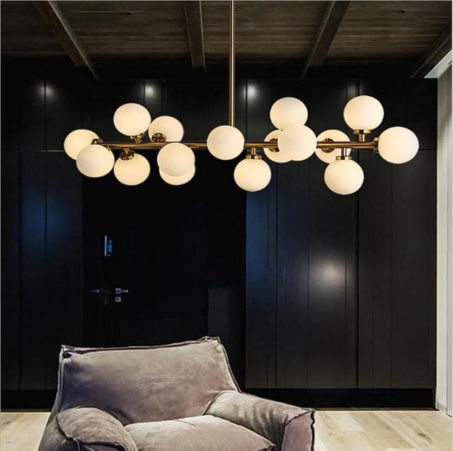 Moden Kunst Pendelleuchte Gold/Schwarz Magische Bohne Led Lampe