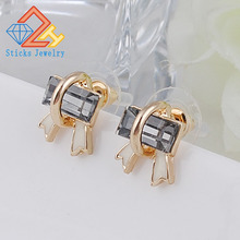 Rectangular glass bow shape earrings jewelry wholesale free shipping