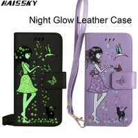 Luxury Night Glow Leather 3D Cat Flip Phone Case For Samsung Galaxy S8 S8 Plus S7